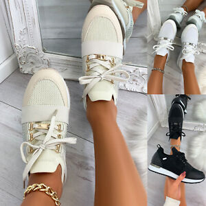 New Womens Lace Up Side Embellished Trainers Sneaker Ladies Shoes Sizes 3-8