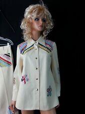 Vtg Nwt 70s Wenjilli Suit Cream Jacket Pants BellBottom Floral Hippy13/14 L Rare