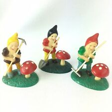 3 Vintage Small Gnomes with Tools and Mushroom Plastic Cake Topper Fairy Garden
