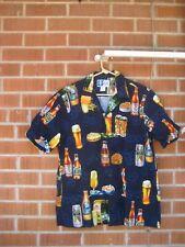 Vintage COCKTAIL BEER * Men's Large Cotton Faded RJC Aloha Hawaiian Shirt USA