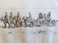 Grand Dessin Militaire  encre 1850 canon dragon cavalerie