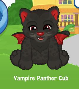 Webkinz Vampire Panther Cub Virtual PET Adoption Code Only Messaged Webkinz Cub!