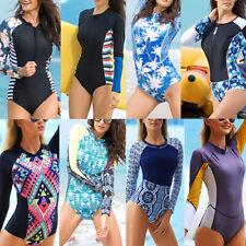 Women Long Sleeve Surfing Diving Swimsuit One Piece Beach Bathing Suit Swimwear