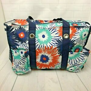 Thirty One Paradise Pop Zip Top Organizing Utility Tote Bag Monogrammed Morgan