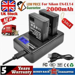 2X 2000mAh EN-EL14 Battery +Dual charger For Nikon D5100 D3100 P7100 D3200 D5200