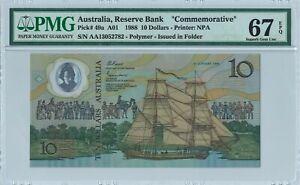 "Australia 10 Dollars P49a 1988 PMG67EPQ s/n AA13052782 ""Commemorative"" Polymer"