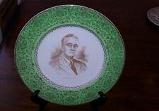 Franklin D. Roosevelt Capsco Capital Souvenir Plate Green Gold President