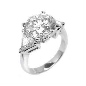 3.56 ct H SI1 ROUND CUT DIAMOND 3 STONE ENGAGEMENT RING