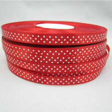Free shipping Bulk 100 Yards 3/8 9mm Polka Dot Ribbon Satin Craft Supplies Red