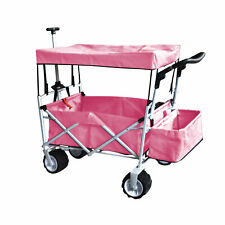 SALMON PINK OUTDOOR FOLDING WAGON CANOPY GARDEN STROLLER TRAVEL CART ALL TERRAIN