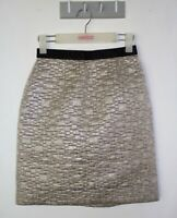 Scanlan Theodore Pencil Skirt Size 8 Silver Metallic Textured