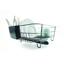 Large Chrome Dish Rack BLACK Drainer Holder Kitchen Drying Steel Saving