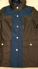 NWOT Tommy Hilfiger Womens Button Up Navy Canvas Hooded Long Rain Jacket Large