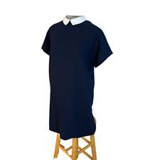 Zara Basic Eyelet Peter Pan Collar Mini Dress Navy Blue S Small