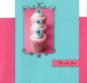 Pink & Blue Cupcake Cupcakes Thank You Blank Note Cards By American Greetings