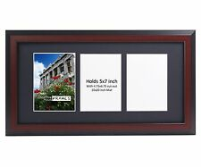 CreativePF 3 Opening Multi 5x7 Mahogany Picture Frame 10x20 Black Collage Mat