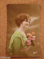 R&L Postcard: Edwardian Young Lady, Romantic/Sentimental Colour Tinted Gloria