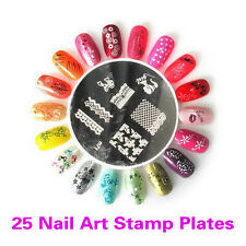 25PCS Nail Art Image Stamp Plates Polish Stamping Mixed Designs Set Kit DIY