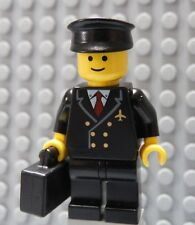 LEGO Airline Pilot Black Suit with Hat and Briefcase Suitcase Classic Head
