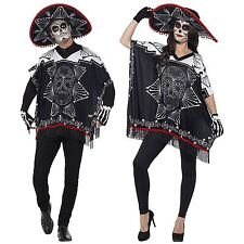Day of the Dead Fancy Dress Costume Bandit Poncho Sombrero Gloves Sugar Skull
