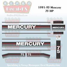 1991-93 Mercury 75HP Outboard Reproduction 13 Piece Marine Vinyl Decals 1992