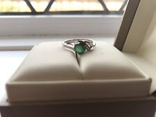 9 Carat White Gold Emerald And Pave Diamond Swirl Ring Size N