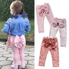 Boutique Kids Baby Girls Bowknot Bottoms Velvet Long Pants Leggings Trousers UK