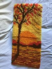 "Sunrise Sunset Latch Hook Finished Wall Hanging Fall Colors 26"" X 11"" ~Vintage~"