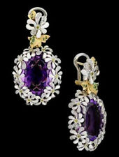Daisy Flower 925 Silver Earrings Alexandrite Dangle Drop Hook Women Earrings