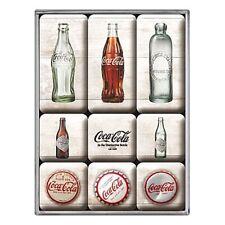 Coca Cola Bottle Evolution set of 9 mini fridge magnets    (na)