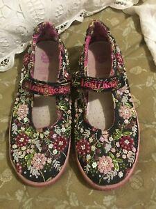 Girls Lelli Kelly Pink Shimmery Mary Jane Adjustable Shoes Size US 5/EU 35