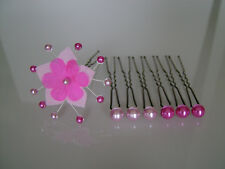 Pics/épingles/Bijoux Cheveux Mariée/Mariage Rose Fuchsia fleur perle pas cher