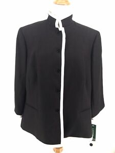Ralph Lauren Lined Linen Black Blazer Womens Plus Size 18W Career Professional