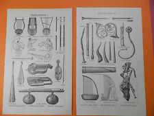 Musikinstrumente Balalaika Viola Fagott Lure Harfe Schalmei Laute Stiche v. 1906