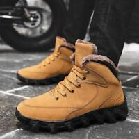 Mens Leather Snow Boots skidproof Winter Outdoor High Top Fur Warm Casual Shoes