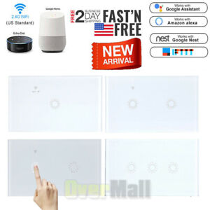 US 1/2/3 Gang Smart Home WiFi Touch Light Wall Switch Panel For Alexa Google APP