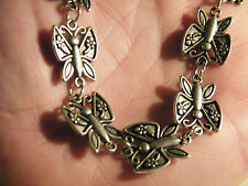 "BUTTERFLY NECKLACE DRAPE STYLE Tibet Silver 9 CHARMS 21"" Silver Chain NEW!"