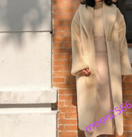 Chic Womens Fur Overcoat Winter Thicken Warm Genuine Furry Jacket Coat