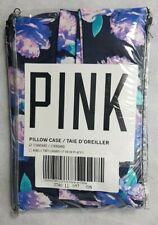 Pair Victoria's Secret Pink Pillow Cases Standard Size Blue Floral SK191 BB 15