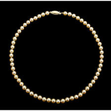 "Japanese Salt Water Cultured Creamy-Gold Pearl Necklace 6 1/2 - 7 mm, 18"" Strand"