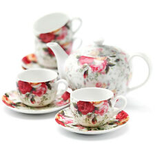 Royal Albert COUNTRY ROSE CHINTZ 9 PC. TEA SET Teapot 4 Cups/4 Saucers Boxed New