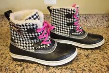 SOREL Women's Black and White Pink Check Tivoli Duck Boot Size 10 (bota400