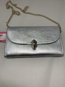 kate spade Lula Silver Metallic Leather Removable Chain Clutch/Crossbody Bag NWT