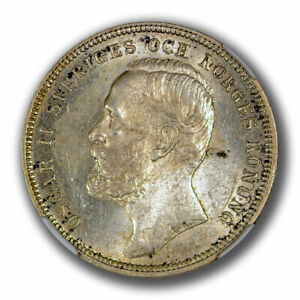 1897 EB Silver Sweden Krona - NGC MS63 - Pop 2 with only 6 Finer!