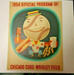 1954 CHICAGO CUBS PROGRAM SCORECARD MILWAUKEE BRAVES HANK AARON WRIGLEY DEBUT!
