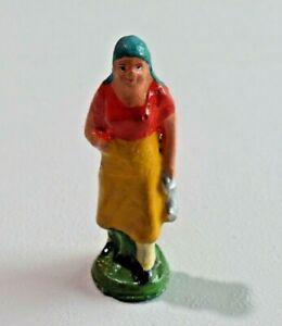 Vtg. Putz Elastolin Composition Figure Woman with Silver Bag Germany