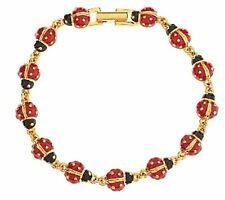 """Joan Rivers Lucky Ladybug Red & Black 7 1/2"""" Line Bracelet"""