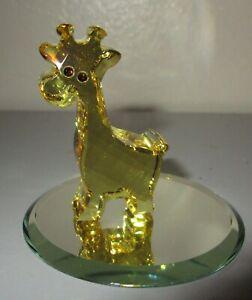 Swarovski Crystal Figurine Yellow Gina the Giraffe w/ Display Mirror MINT!