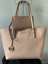 Michael Kors Pink Signature Jet Set Travel Tote And Clutch/ Wallet