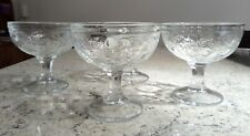 4 x Vintage Footed Stemmed Glass Sundae Ice Cream Fruit Dessert Bowls Dishes
